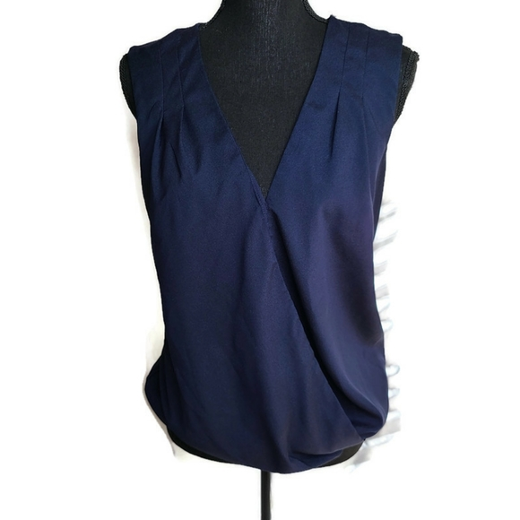 The Limited Tops - The Limited faux wrap drape blouse sleeveless L